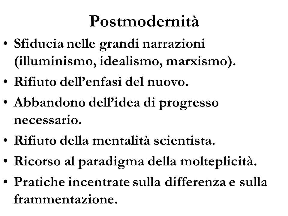 PostmodernitàSfiducia nelle grandi narrazioni (illuminismo, idealismo, marxismo). Rifiuto dell'enfasi del nuovo.