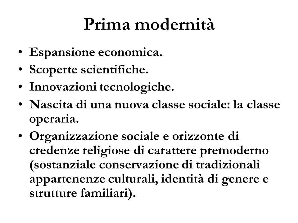 Prima modernità Espansione economica. Scoperte scientifiche.