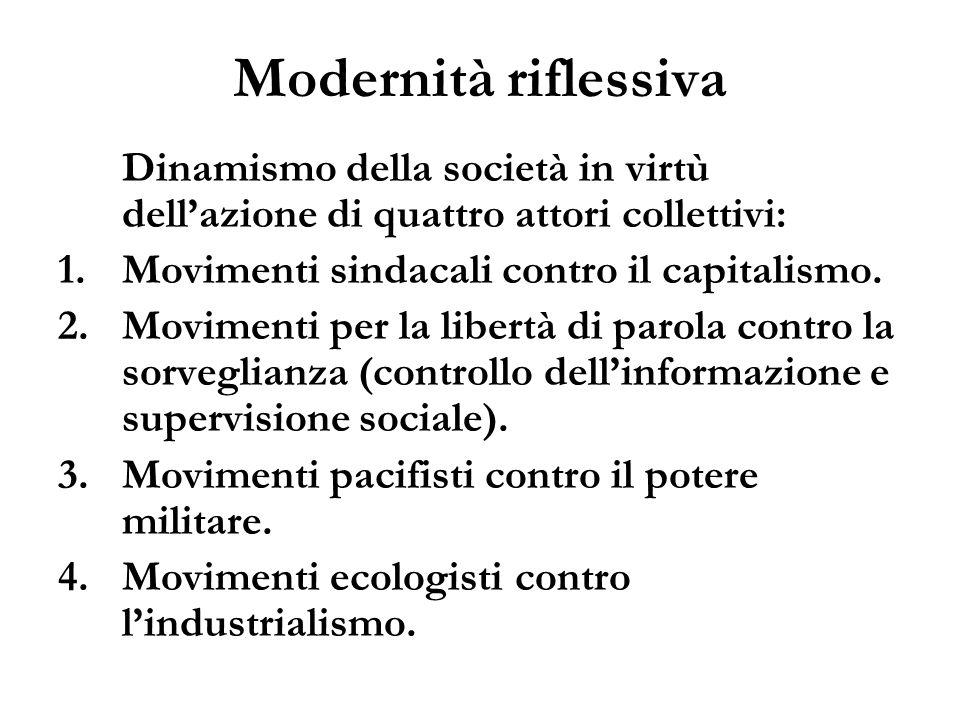 Modernità riflessivaDinamismo della società in virtù dell'azione di quattro attori collettivi: Movimenti sindacali contro il capitalismo.