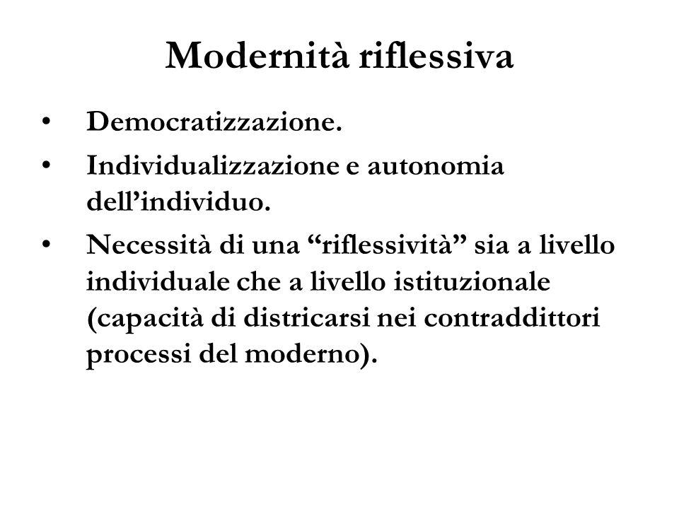 Modernità riflessiva Democratizzazione.