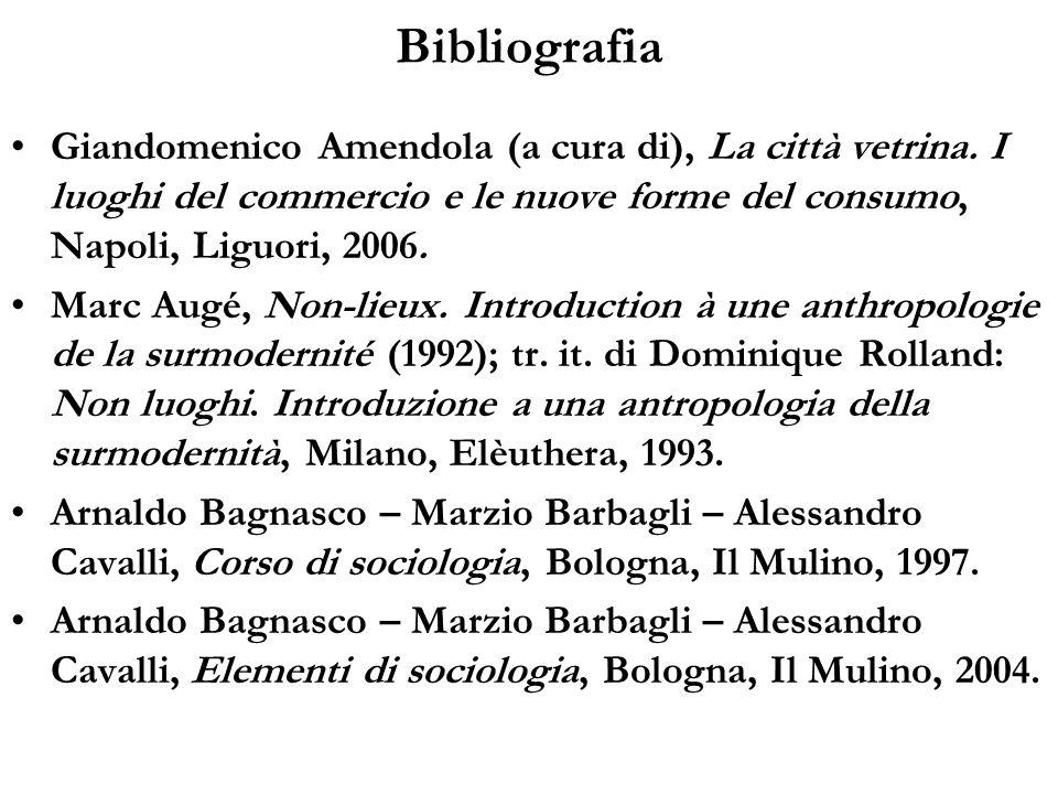 BibliografiaGiandomenico Amendola (a cura di), La città vetrina. I luoghi del commercio e le nuove forme del consumo, Napoli, Liguori, 2006.