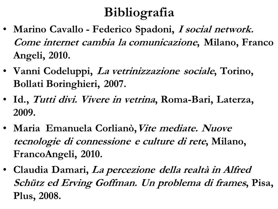 BibliografiaMarino Cavallo - Federico Spadoni, I social network. Come internet cambia la comunicazione, Milano, Franco Angeli, 2010.