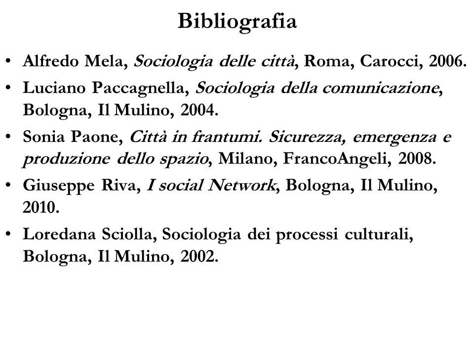 Bibliografia Alfredo Mela, Sociologia delle città, Roma, Carocci, 2006.