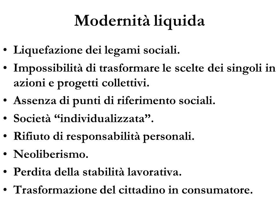 Modernità liquida Liquefazione dei legami sociali.