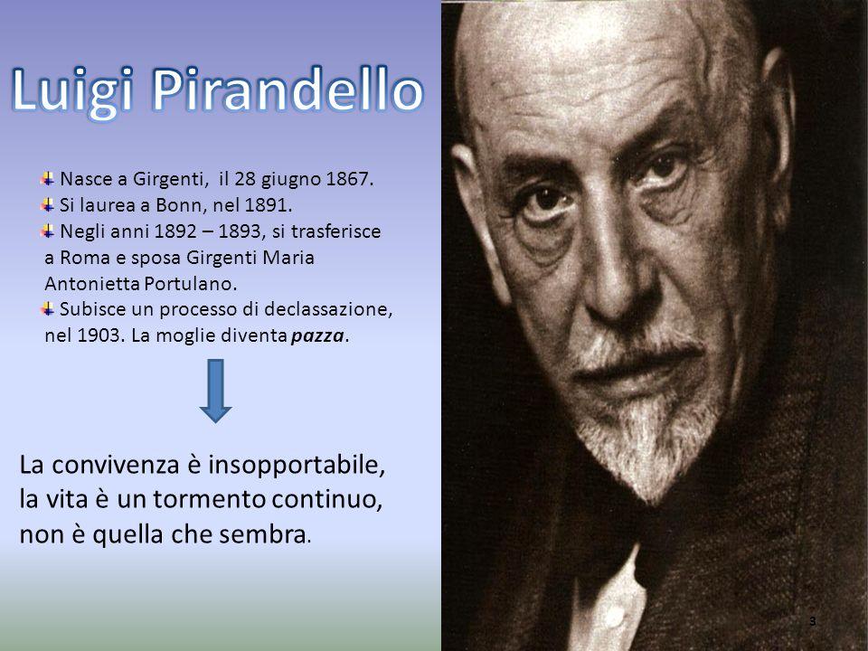 Luigi Pirandello Nasce a Girgenti, il 28 giugno 1867. Si laurea a Bonn, nel 1891. Negli anni 1892 – 1893, si trasferisce.