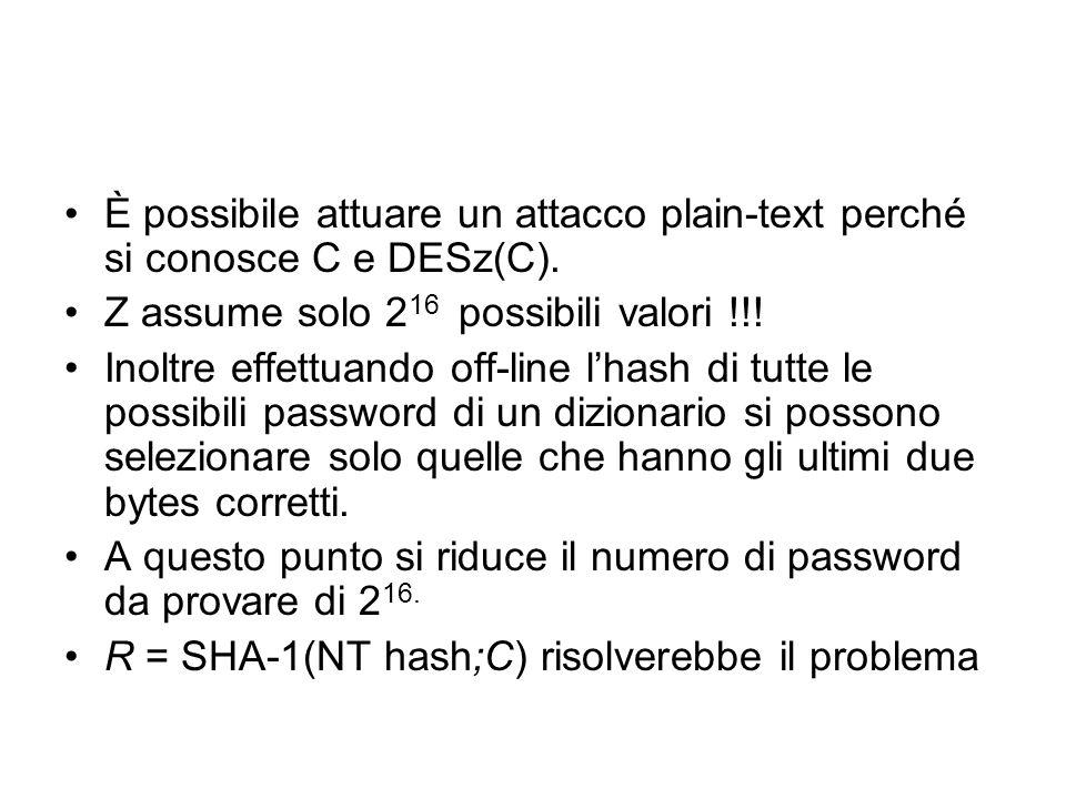 È possibile attuare un attacco plain-text perché si conosce C e DESz(C).
