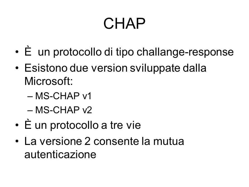 CHAP È un protocollo di tipo challange-response