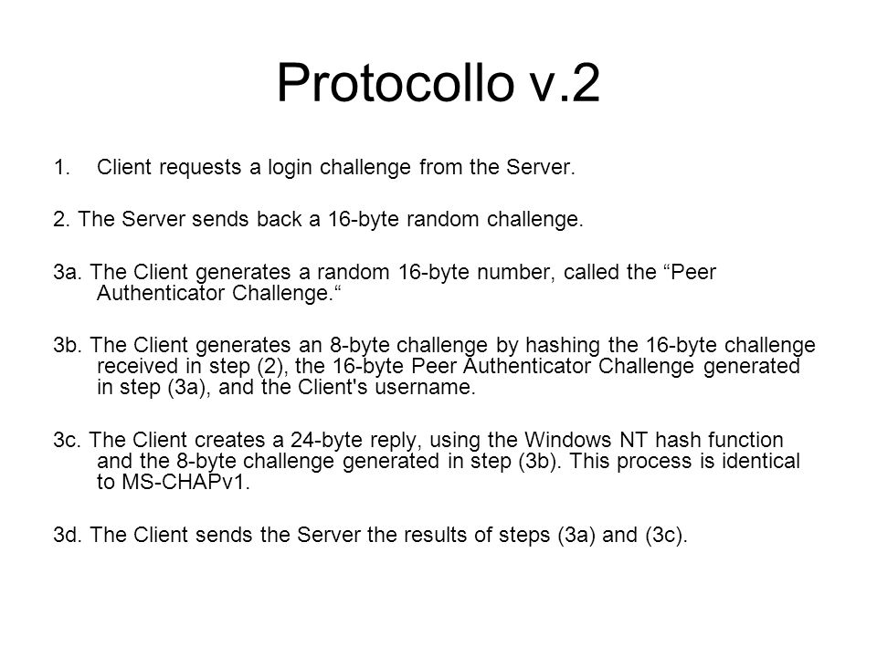 Protocollo v.2 Client requests a login challenge from the Server.