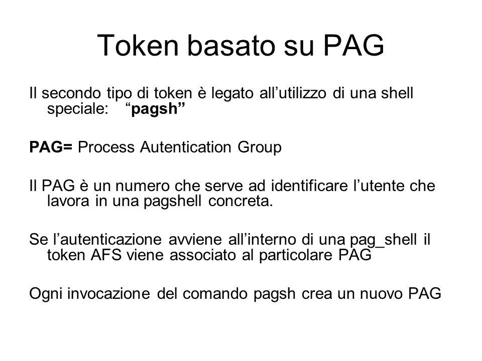 Token basato su PAG Il secondo tipo di token è legato all'utilizzo di una shell speciale: pagsh PAG= Process Autentication Group.
