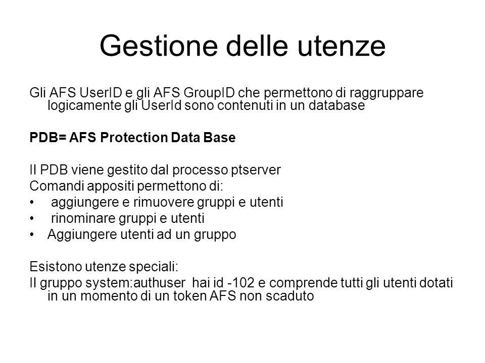 Gestione delle utenze Gli AFS UserID e gli AFS GroupID che permettono di raggruppare logicamente gli UserId sono contenuti in un database.