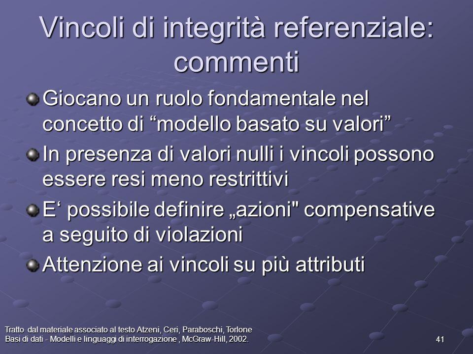 Vincoli di integrità referenziale: commenti
