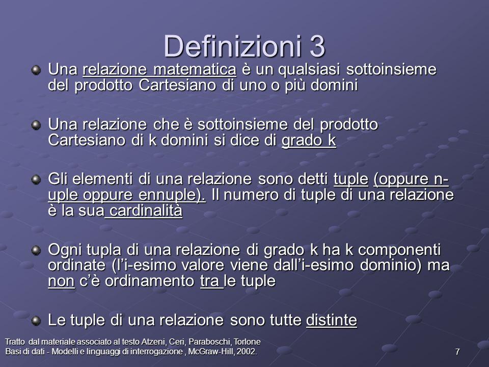 Definizioni 3 Una relazione matematica è un qualsiasi sottoinsieme del prodotto Cartesiano di uno o più domini.
