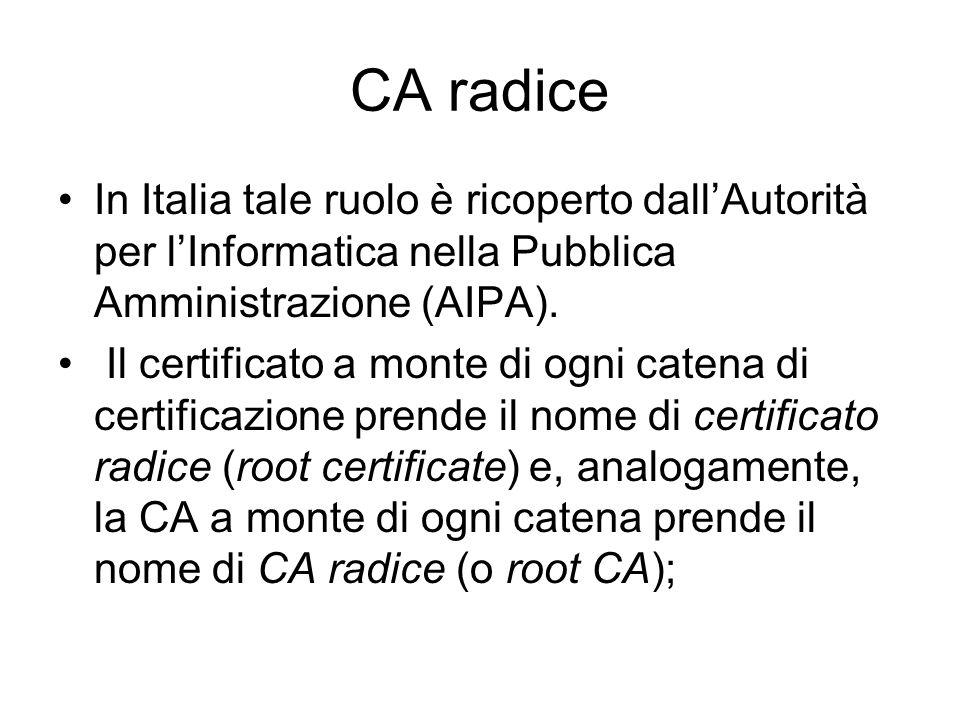 CA radice In Italia tale ruolo è ricoperto dall'Autorità per l'Informatica nella Pubblica Amministrazione (AIPA).