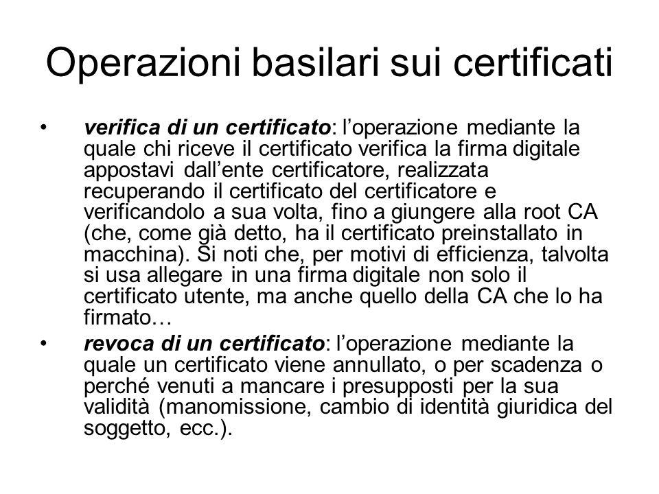Operazioni basilari sui certificati