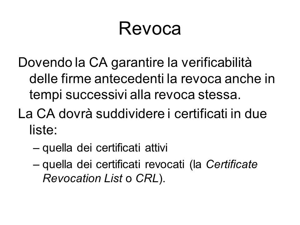 Revoca Dovendo la CA garantire la verificabilità delle firme antecedenti la revoca anche in tempi successivi alla revoca stessa.