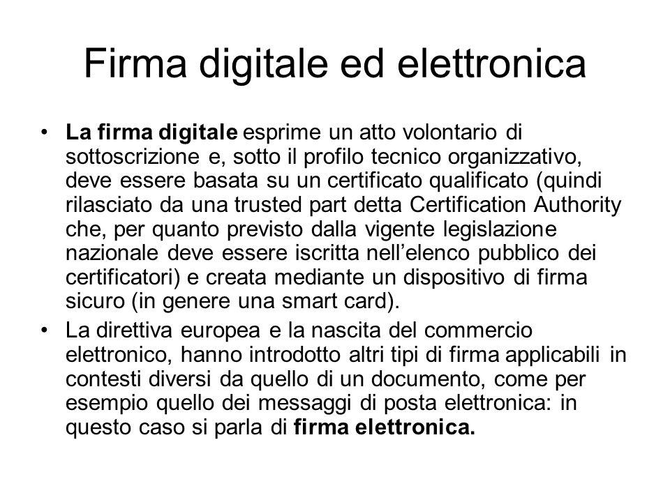 Firma digitale ed elettronica