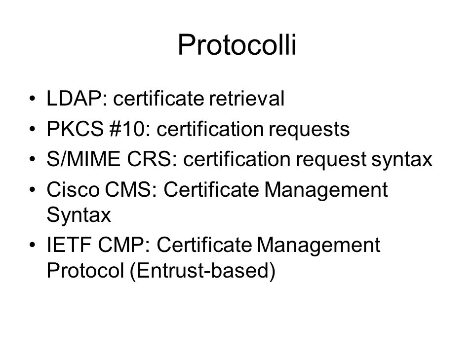 Protocolli LDAP: certificate retrieval