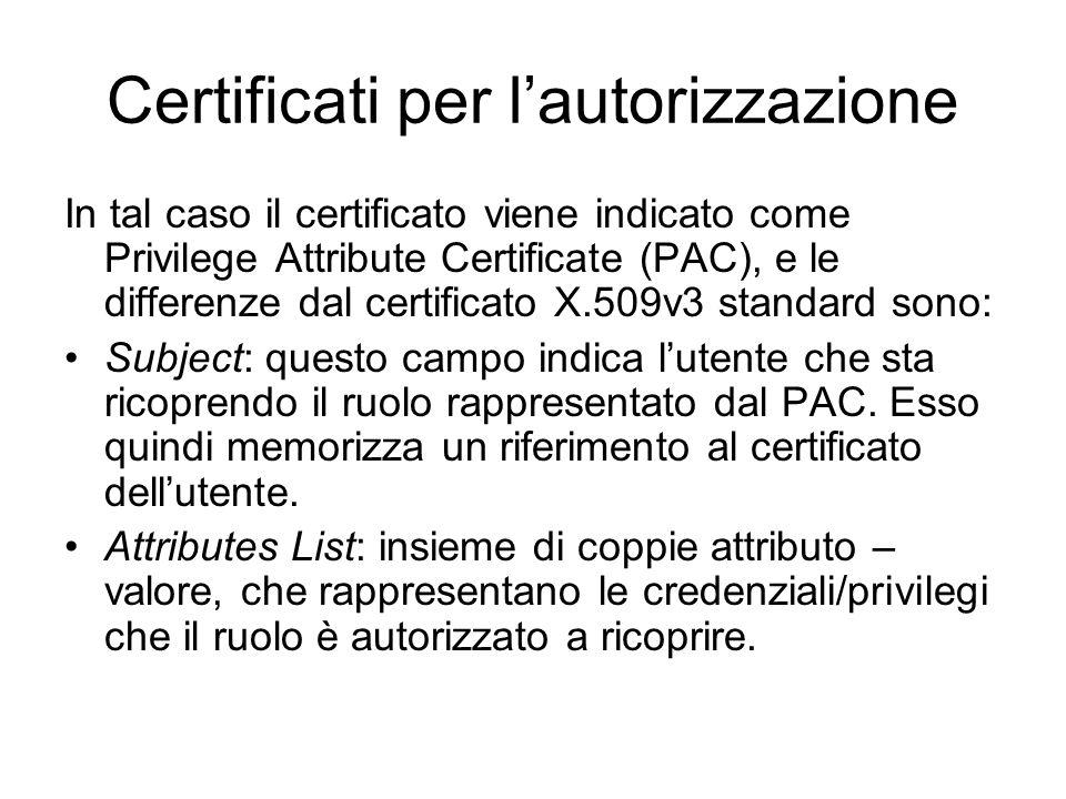 Certificati per l'autorizzazione