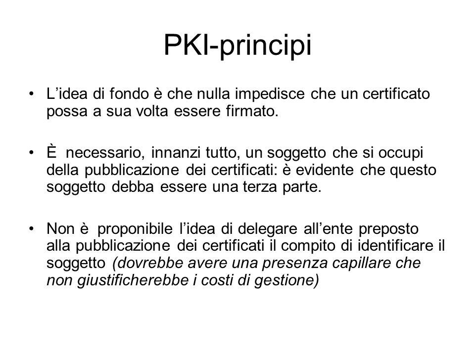 PKI-principi L'idea di fondo è che nulla impedisce che un certificato possa a sua volta essere firmato.