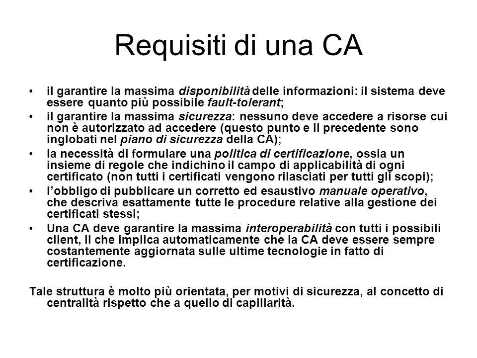 Requisiti di una CA il garantire la massima disponibilità delle informazioni: il sistema deve essere quanto più possibile fault-tolerant;