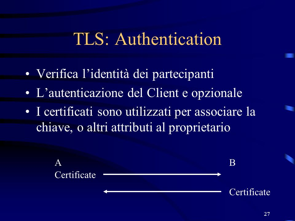 TLS: Authentication Verifica l'identità dei partecipanti