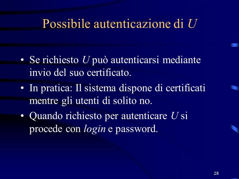 Possibile autenticazione di U