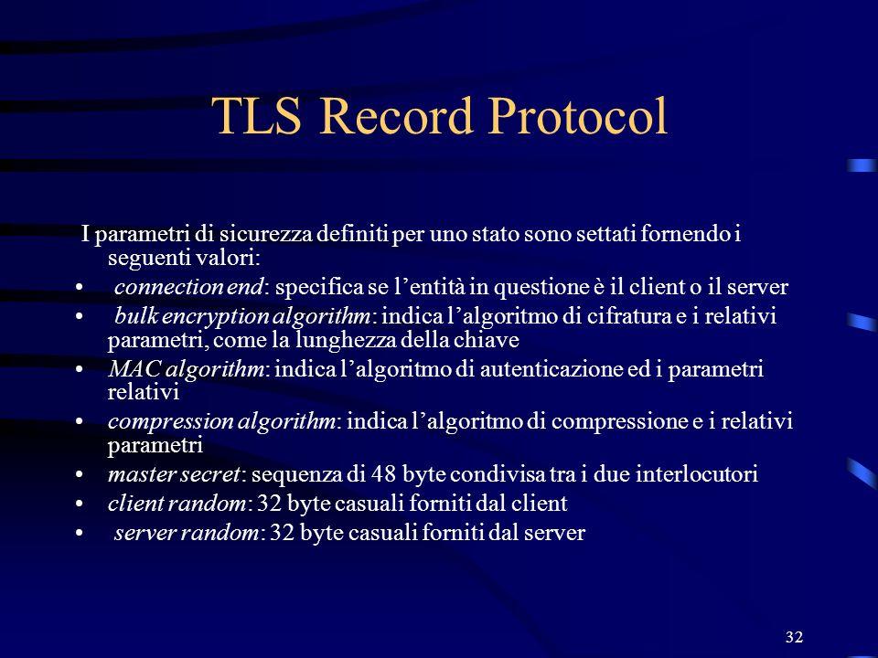 TLS Record Protocol I parametri di sicurezza definiti per uno stato sono settati fornendo i seguenti valori: