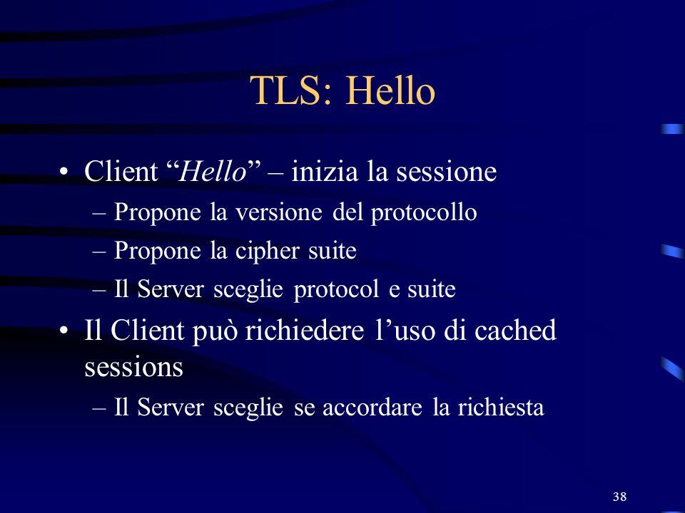 TLS: Hello Client Hello – inizia la sessione