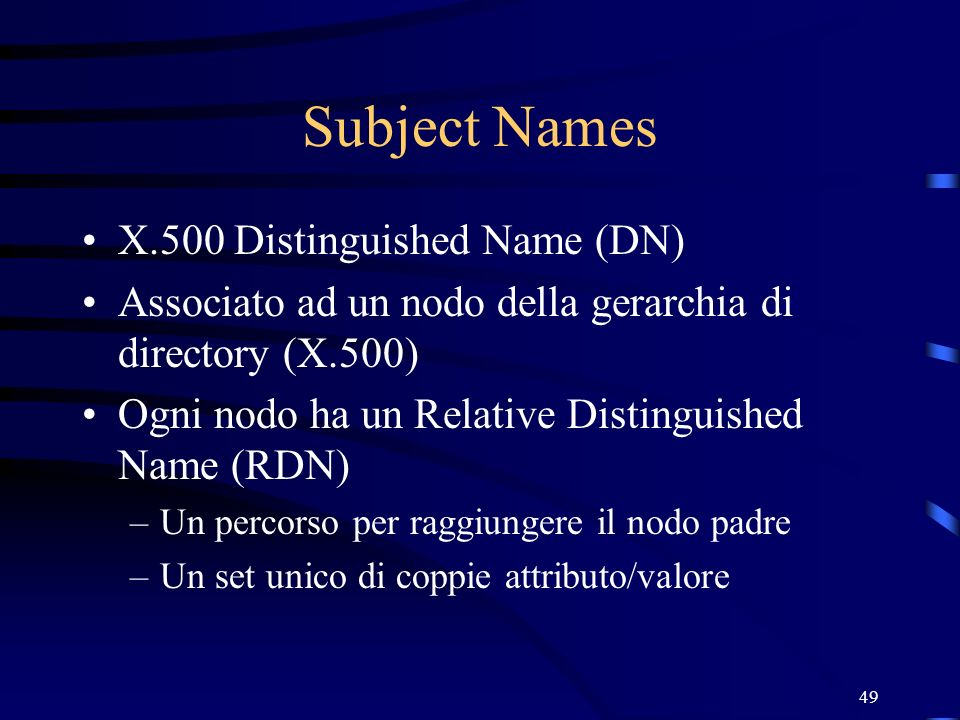 Subject Names X.500 Distinguished Name (DN)