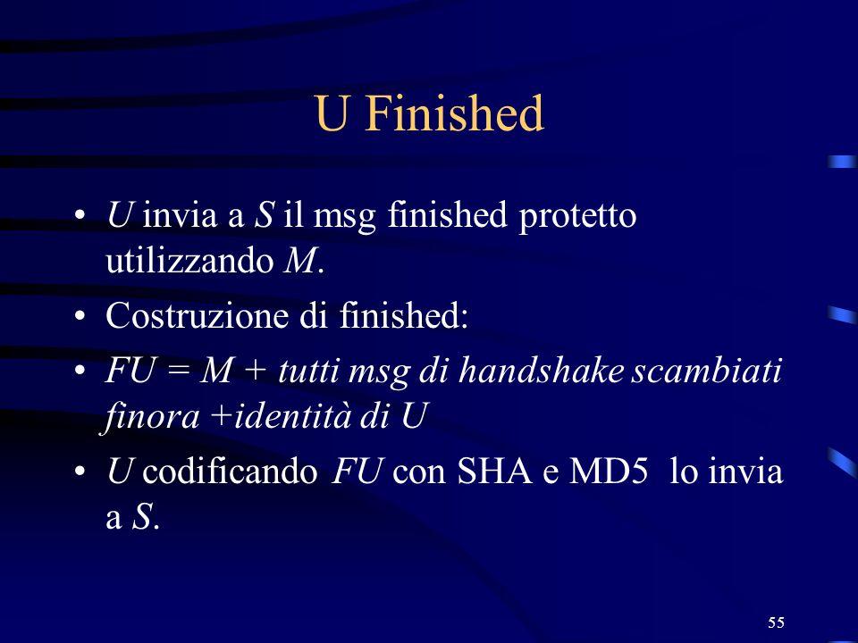 U Finished U invia a S il msg finished protetto utilizzando M.