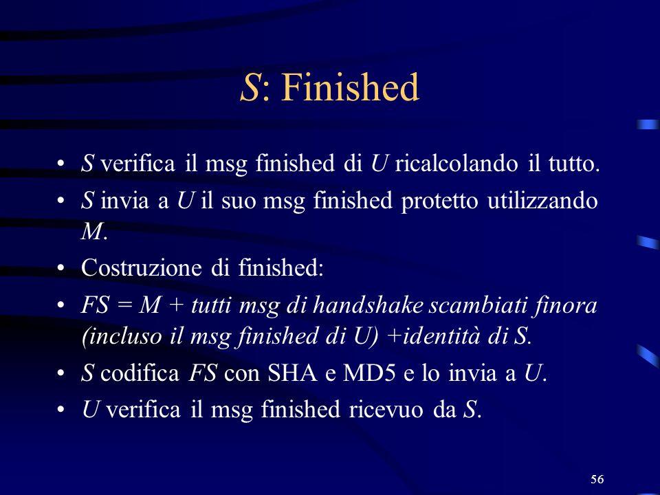 S: Finished S verifica il msg finished di U ricalcolando il tutto.