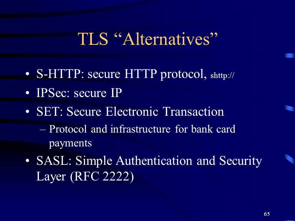 TLS Alternatives S-HTTP: secure HTTP protocol, shttp://