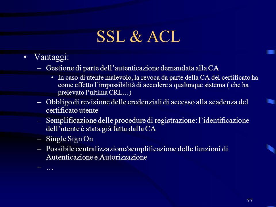 SSL & ACL Vantaggi: Gestione di parte dell'autenticazione demandata alla CA.