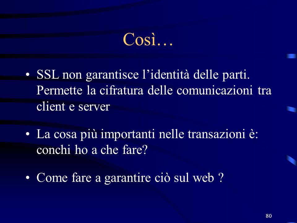 Così…SSL non garantisce l'identità delle parti. Permette la cifratura delle comunicazioni tra client e server.