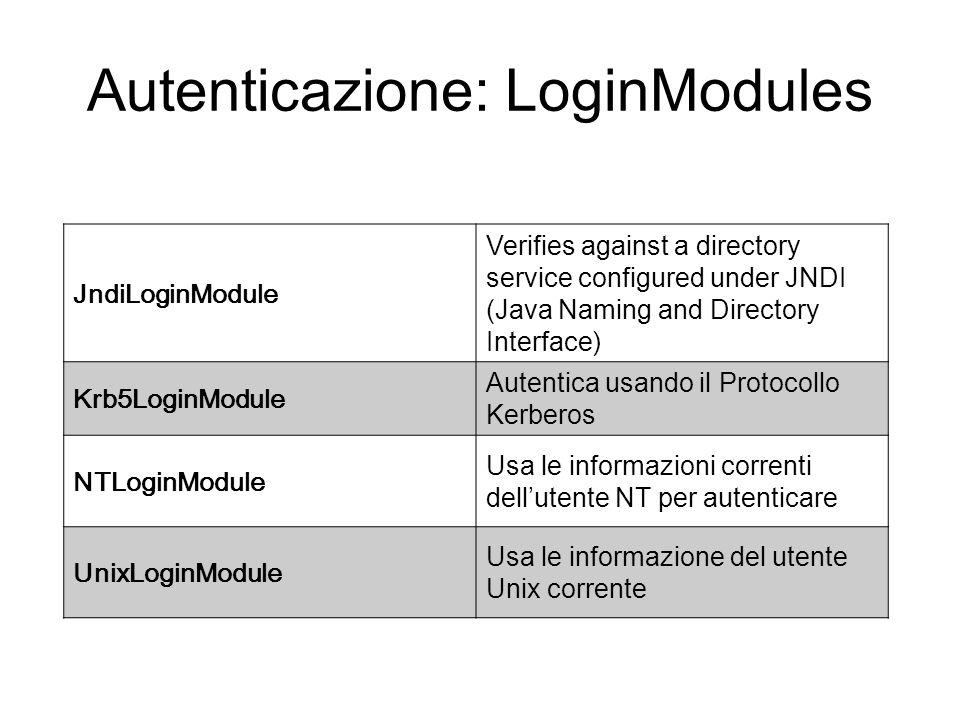 Autenticazione: LoginModules