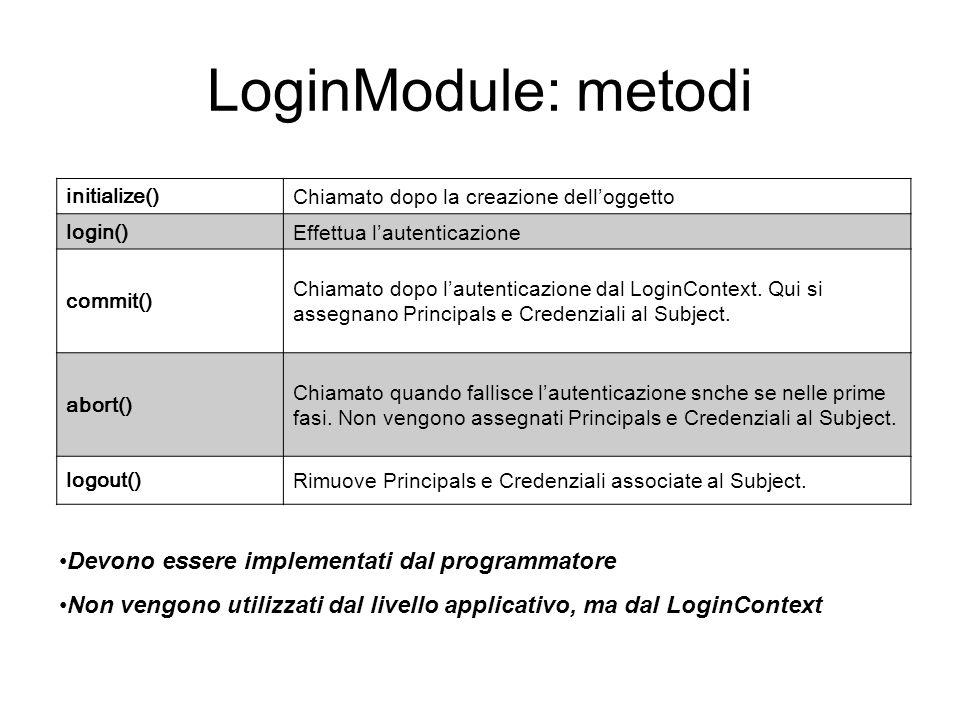 LoginModule: metodi Devono essere implementati dal programmatore