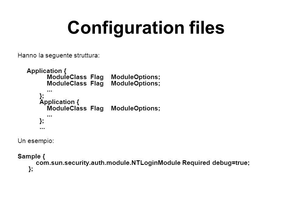 Configuration files Hanno la seguente struttura: