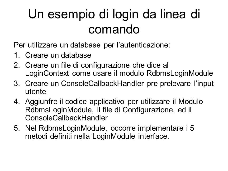 Un esempio di login da linea di comando