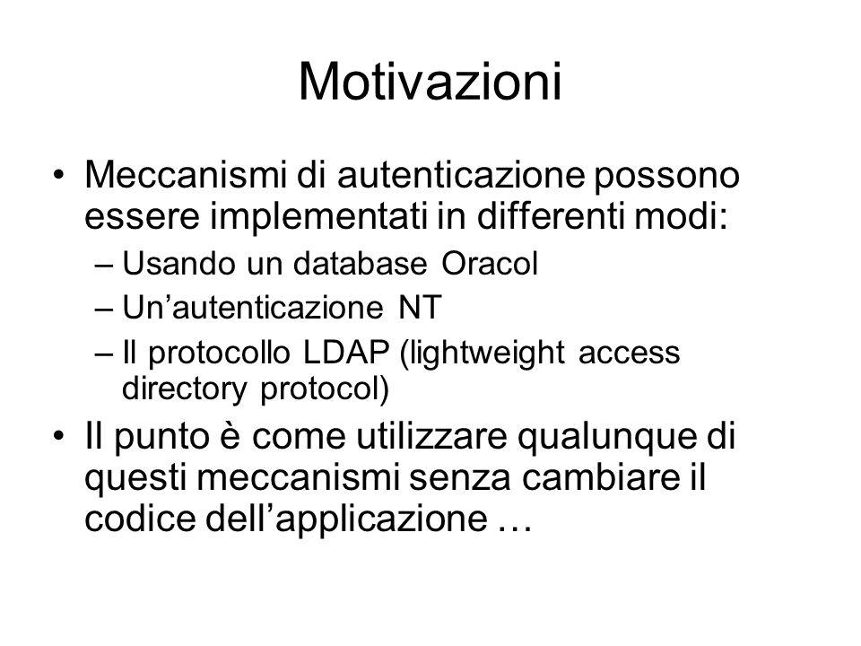 Motivazioni Meccanismi di autenticazione possono essere implementati in differenti modi: Usando un database Oracol.