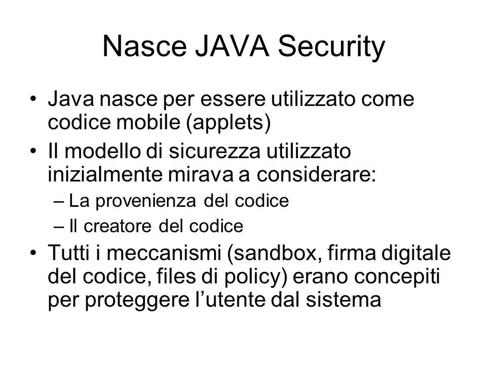 Nasce JAVA Security Java nasce per essere utilizzato come codice mobile (applets)