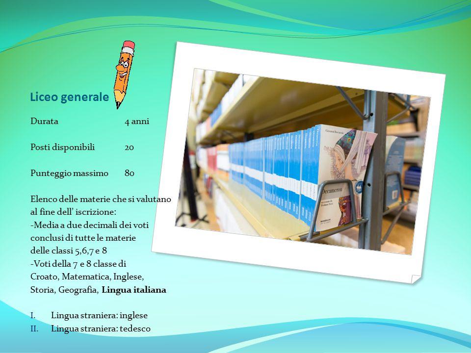 Liceo generale Durata 4 anni Posti disponibili 20 Punteggio massimo 80