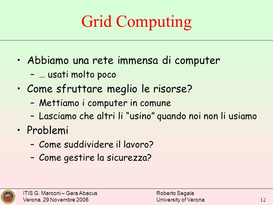 Grid Computing Abbiamo una rete immensa di computer