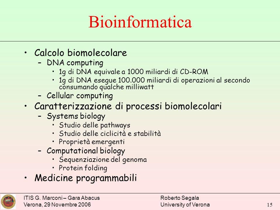 Bioinformatica Calcolo biomolecolare