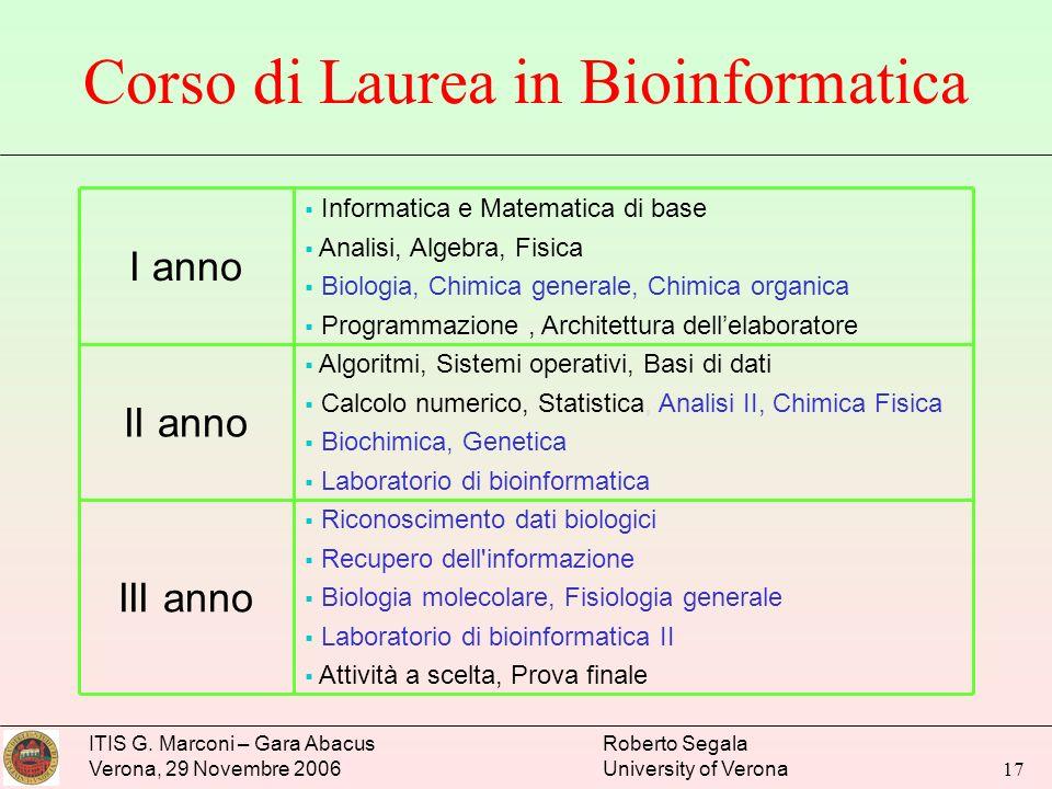 Corso di Laurea in Bioinformatica