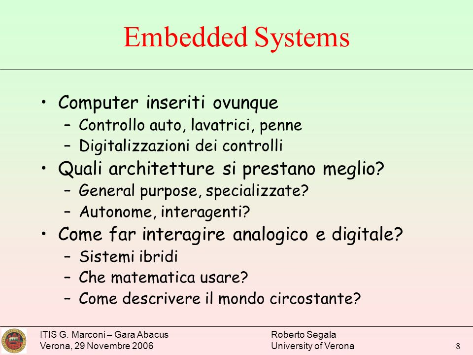 Embedded Systems Computer inseriti ovunque