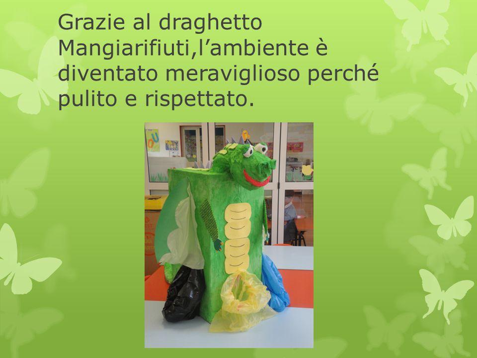 Grazie al draghetto Mangiarifiuti,l'ambiente è diventato meraviglioso perché pulito e rispettato.