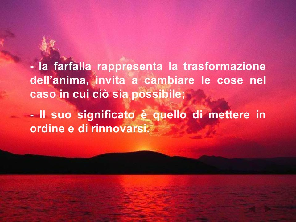 - la farfalla rappresenta la trasformazione dell'anima, invita a cambiare le cose nel caso in cui ciò sia possibile;