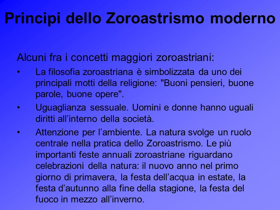 Principi dello Zoroastrismo moderno