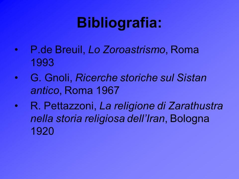 Bibliografia: P.de Breuil, Lo Zoroastrismo, Roma 1993