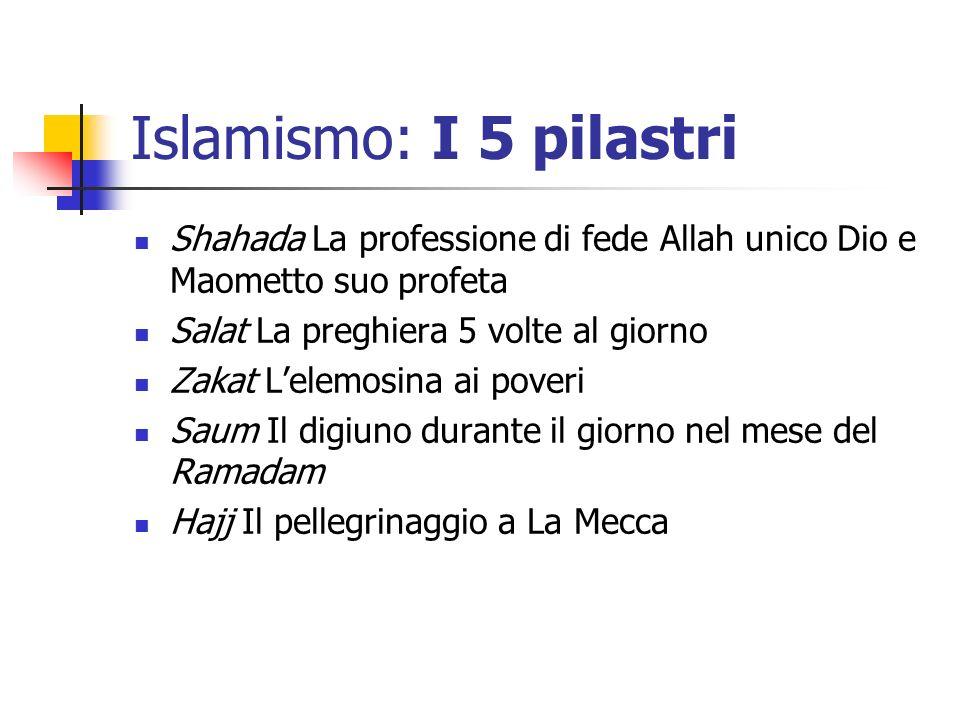 Islamismo: I 5 pilastri Shahada La professione di fede Allah unico Dio e Maometto suo profeta. Salat La preghiera 5 volte al giorno.